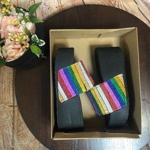 Jessica Simpson 8 Rainbow Glitter Platform Sandals